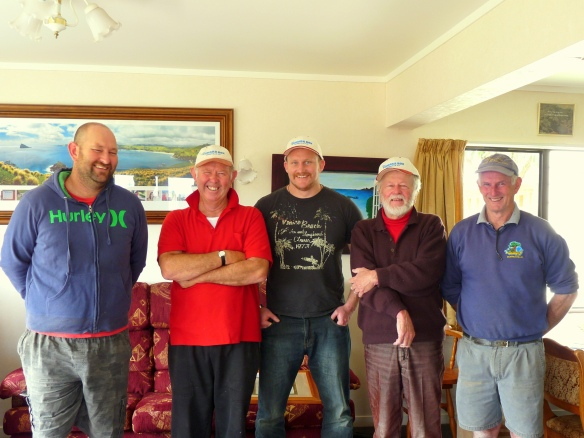 Winston Cowie, David Sims, Ernie the Kumara & team at The Kumara Box