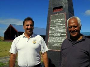 Kaumatua Paki Pomare-Kena and Trustee Tahu Kena, Waikaretu Marae, Pouto.