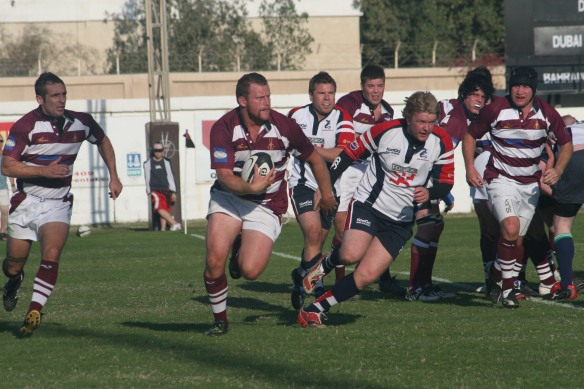 Winston Cowie playing rugby for Doha, 2011.
