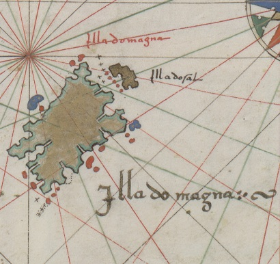 Vallard Map 1547. The North island of New Zealand?