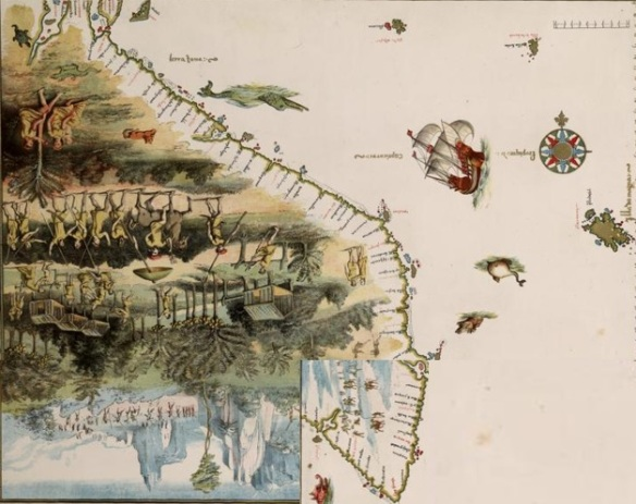 Vallard Map 1547 - the eastern coast of Australia with portolan realigned. Part of the North Island of New Zealand may be the island the 'Illa do Magna'