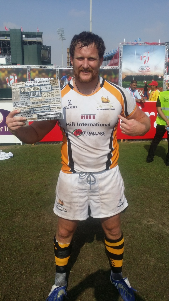 Author Winston Cowie playing for the Mike Ballard Foundation Conquistadors, Dubai 7s, 2015.