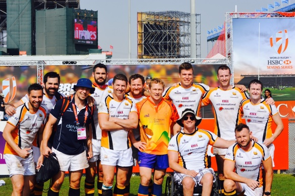 Mike Ballard Foundation Conquistadors and the Lewsey brothers, Ed and Josh, at Dubai 7s 2015.