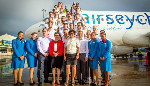 Air Seychelles Mike Ballard Foundation Conquistadors with Government Officials