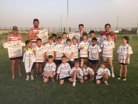 Abu Dhabi Saracens were the first to donate a full set of junior kit.