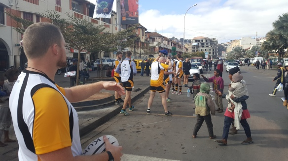 Lineouts on the streets on Antananarivo, Madagascar